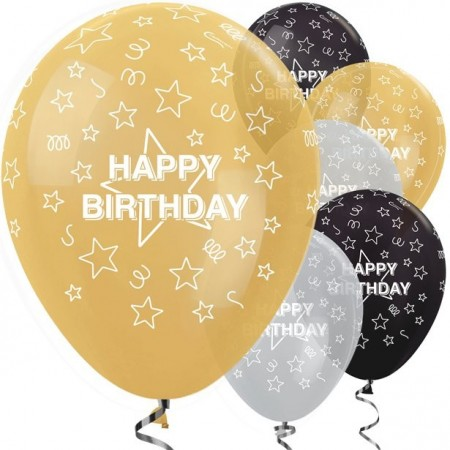 Latex Ballonger - Happy Birthday 25 stk